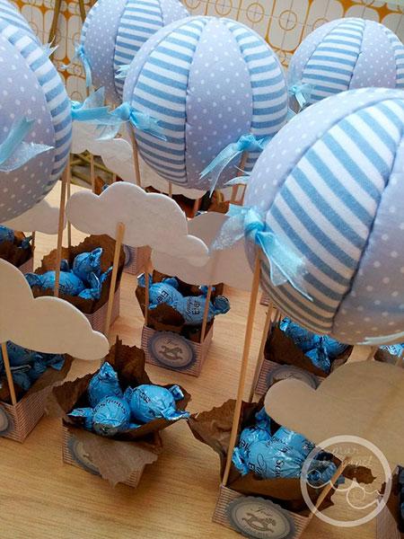 Manualidades para Baby Shower de niño con globos. Decoración