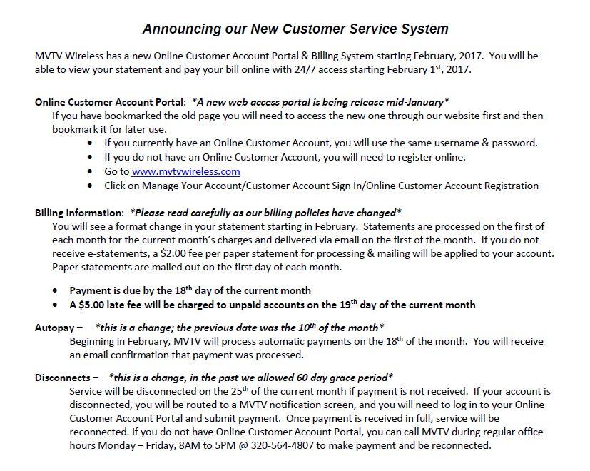 New Customer Service System Letter - MVTV Wireless - customer service letter