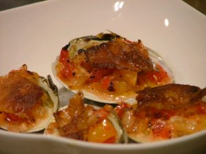 Maraschino clams on the half shell
