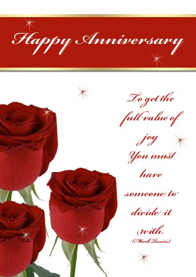 Free Printable Roses Anniversary Cards - printable anniversary cards for him