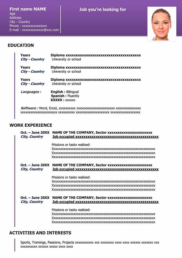 50 Resume Templates in Word Download for Free - Resume Template Word Free