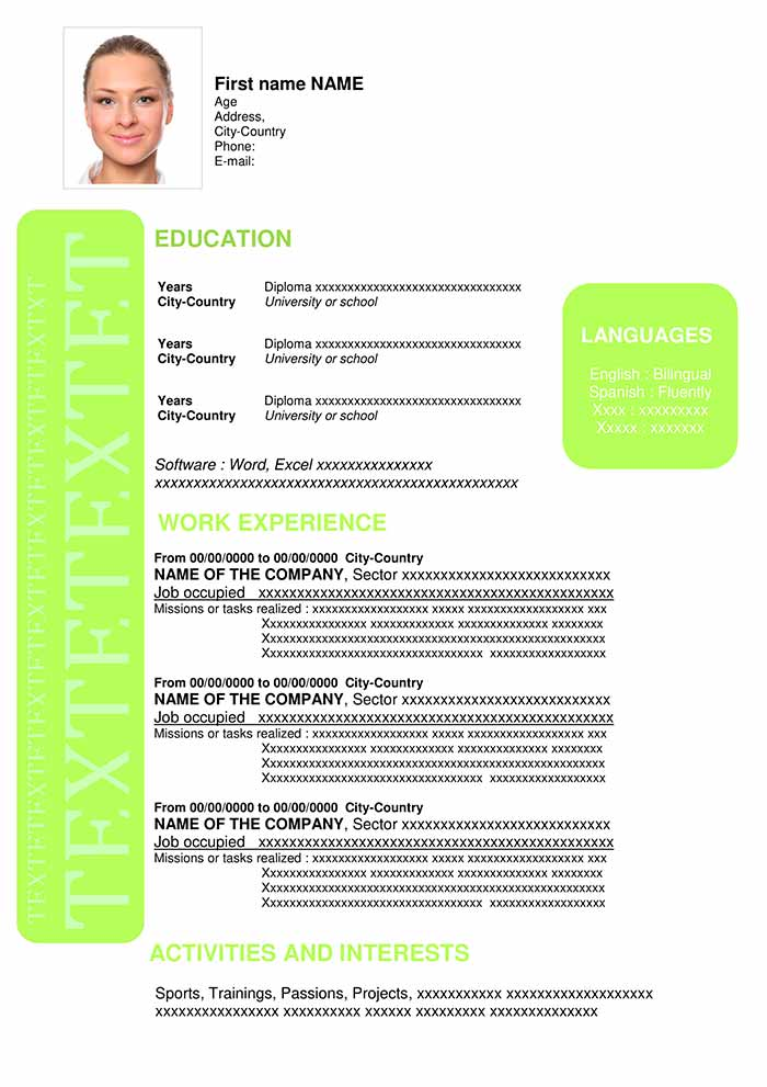 Free Downloadable Job Resume Template