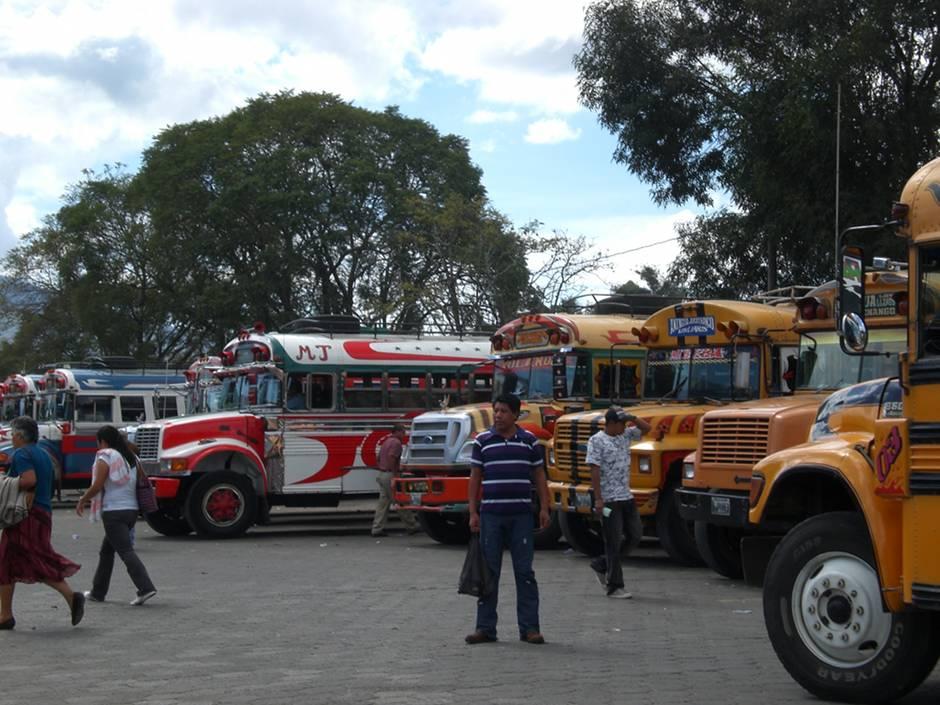 Chicken buses, Antigua - Guatemala