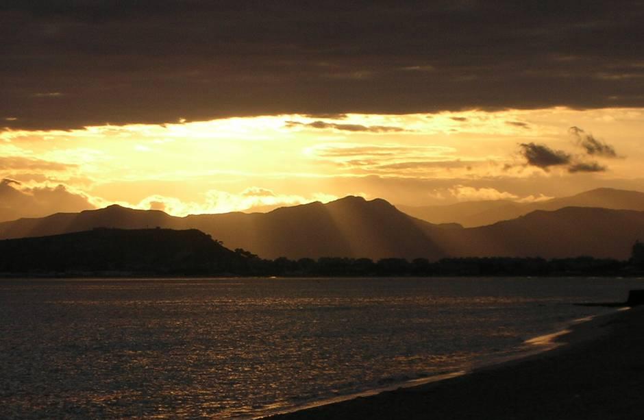 Poetto beach Cagliari: sunset view