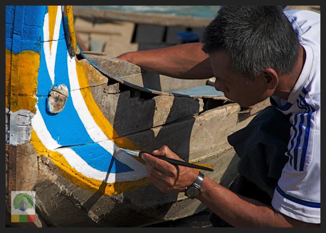 U Bein Teak Bridge - Boat - Amarapura - Mandalay - Myanmar (Burma)