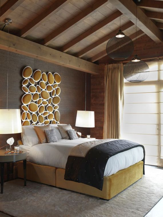Exotic vaulted ceiling ideas for bedroom with dominant