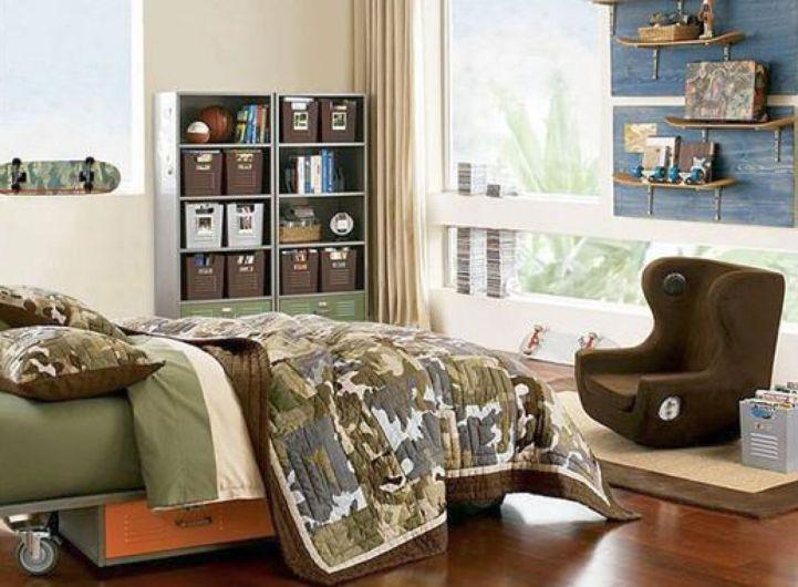 12 superb room decor ideas for teenage boys for Boys army bedroom ideas