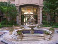 classic front yard landscape fountain design ideas