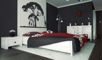 red black and white bedroom ideas with tree painting above ...