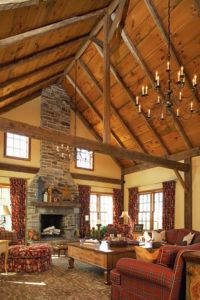 rustic vaulted ceilings with chandelier