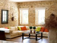 stone walled beige living room walls