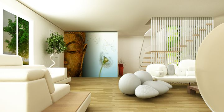 Zen living room ideas with buddha painting for Zen decorating ideas living room