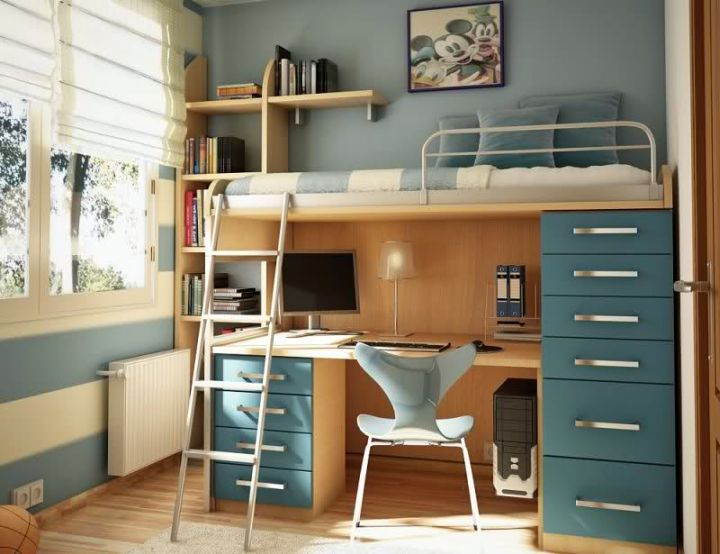 Desk Bed Combo With Blue Bunk Bed