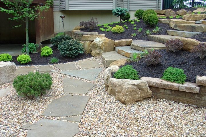 Elevated Simple Rock Garden Ideas With Black Sand