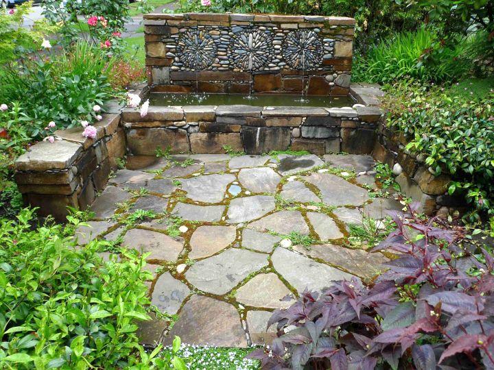 Rustic Simple Rock Garden Ideas With Fountain