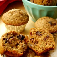 Whole Wheat Banana Muffins with Dark Chocolate and Toasted Pecans