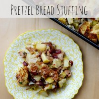 Sausage and Apple Pretzel Bread Stuffing