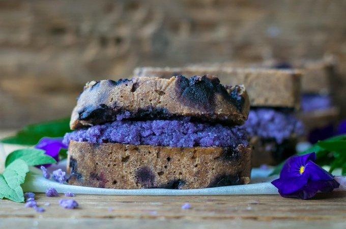 Blueberry banana bread with blueberry coconut butter. Vegan, gluten free, myberryforest.com