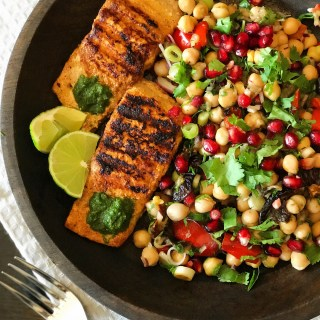 Spicy Salmon with Chickpea Salad