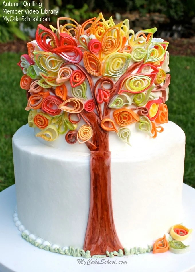 Simple Wallpapers Colors Fall Quilling With Fondant Video An Autumn Cake My Cake School