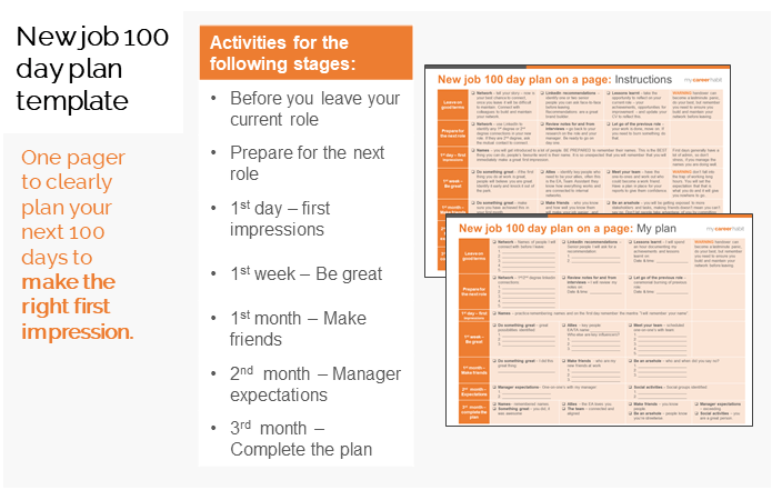 100 day plan new job template
