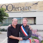 Peter Jurzynski shakes hands with Bleriot-Plage Mayor Guy Allemand outside the French city's town hall last summer. Jurzynski dedicated his 2009 swim, which was unusccesful, to Louis Bleriot, who in 1909 became the first person to fly across the English Channel in an airplane.