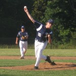 "Tom Arsenault delivers a pitch in the first inning of PBF's 13-2 loss at Oxford Tueday. Post 25 allowed 15 hits, 10 of which were given up by Arsenault, leading him to tell head coach Jim Augelli that he'll ""never see that"" again."