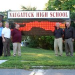 From left, Darryl White, Michael Bisson, Alan Terry, Steven Litke, Joe Magnamo, Michael Falcha, Robert Dibble and Richard Neary (superimposed) at the high school.
