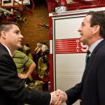Dan Malloy, right, the Democratic candidate for governor, shakes hands with Naugatuck Mayor Bob Mezzo at the Naugatuck fire department last Wednesday. Malloy was declared unofficial winner on Wednesday afternoon in a race with Republican Tom Foley that was too close to call on election night.