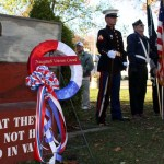 A wreath honors Naugatuck veterans on the Town Green in 2010. -FILE PHOTO