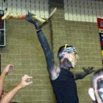 Senior Ryan Marriotti hoists the spirit shovel won by the senior class at Woodland High School.