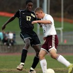 Naugatuck freshman Adam Branco shuts out his opponant.
