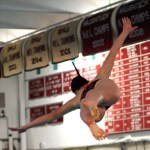 Naugatuck's Isabelle Moody flies through the air during the diving competion Tuesday.