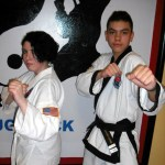USA Martial Arts members Sarah Steinberg, left, finished first place in sparring and Javon Lopez finished first place in weapons in a tournament held Feb. 23 at the Boys Club in Waterbury. CONTRIBUTED