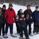 CONTRIBUTED Athletes from Special Olympics Naugatuck practice snowshoeing for the upcoming Winter Games being held March 5 and March 6 in Simsbury. From left, Rebecca Ferrari, Clinton Scheithe, Meaghan Jones, Dyllan Seismund, Jake Segla, Joe and Alexa Babbit. PHOTO CONTRIBUTED