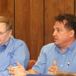 Burgess Ron San Angelo, right, and Board of Finance Chair Bob Butler discuss Naugatuck's budget during a budget meeting May 16.