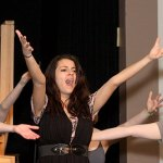 Naugatuck High School Alyssa Bianca senior belts out a tune during rehearsal for the Naugatuck Teen Theatre's production of 'All Shook Up', Thursday night. Bianca is playing the role of Natalie. PHOTO BY LARAINE WESCHLER