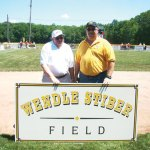 Prospect Little League President Pete Rek, right, and the league honored longtime volunteer Wendle Stiber, left, by naming a tee-ball field after him. ERNIE BERTOTHY