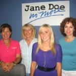 Jane Doe No More recently settled into its new office at 203 Church St. in Naugatuck. From left, Executive Director Nora Mason, Administrative Coordinator Carol Wilton, intern Chelsea Vetre, and Donna Palomba, chairman and founder of Jane Doe No More. ELIO GUGLIOTTI