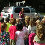 PICTURED: Erica Grow of WTNH talks with students at Andrew Avenue Elementary School Sept. 21. CONTRIBUTED