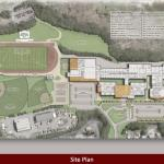 The proposed renovation to Naugatuck High School would look like this, from an aerial view. The upper field would feature an artificial turf and track, and would host the football and soccer teams, while the lower field would house natural-grass fields for baseball and softball. COURTESY KAESTLE BOOS ASSOCIATES, INC.
