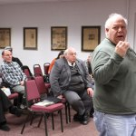 Prospect resident Pat Vilardo addresses the Planning and Zoning Commission Wednesday night during a hearing for two special permits for a farm stand on Straitsville Road. LARAINE WESCHLER