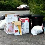 This trash, excluding the two black bins, was left on the corner of Porter Avenue and Caitlin Circle, on property owned by Jeffrey Saguta and Jack Notar. RA ARCHIVE
