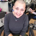 Naugatuck High School senior Molly Walsh shaved her head early this month to raise money for cancer research.