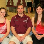 From left, Naugatuck senior Kaitlyn Carter, coach Brian Mariano, and senior Isabelle Moody. Moody became the first female to win the NVL boy's diving championship, while Carter finished third. –CONTRIBUTED