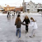 This 2009 photo shows teens ice skating at a rink at the Joseph R. Healy Recreation Area on Meadow Street in Naugatuck. Beautification Committee co-chair Linda Ramos is currently leading an effort to raise money to buy a new portable ice skating rink for the borough. –RA ARACHIVE