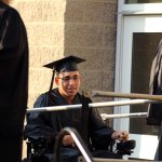 Woodland Regional High School graduate Nicholas Olivera makes his way to the stage to receive his diploma during graduation ceremonies Wednesday at the school in Beacon Falls. –RA ARCHIVE