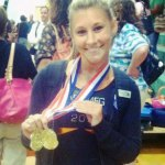 Sacred Heart University junior Brittany Battis, of Beacon Falls, won gold in the balance beam and floor exercise during the annual Nutmeg State Games at New Milford High School Monday. –CONTRIBUTED
