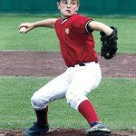 Prospect's Kyle Searles pitches for the Cheshire Red Storm travel team during a tournament in Cooperstown, N.Y., last month. -CONTRIBUTED