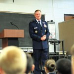 Lt. Gen. David Fadok, commander and president of the Air University at Maxwell Air Force Base in Alabama, talks with AFJROTC students during a visit to Naugatuck High School last Friday. The program was awarded the Distinguished Unit Award with Merit for the 2011-12 academic school year. –LUKE MARSHALL